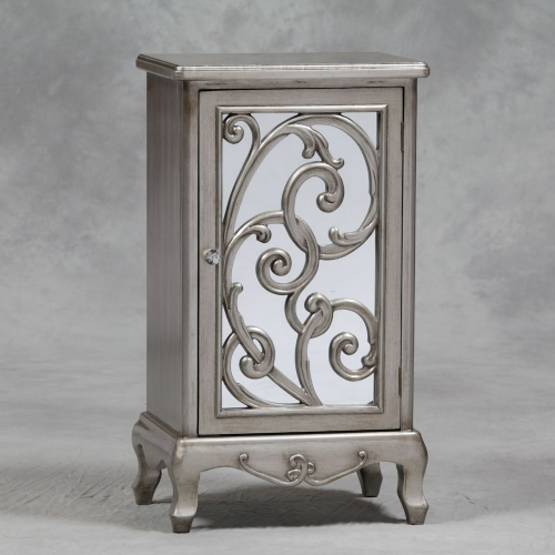 Rococo Mirrored Cabinet or Bedside in Antique Silver